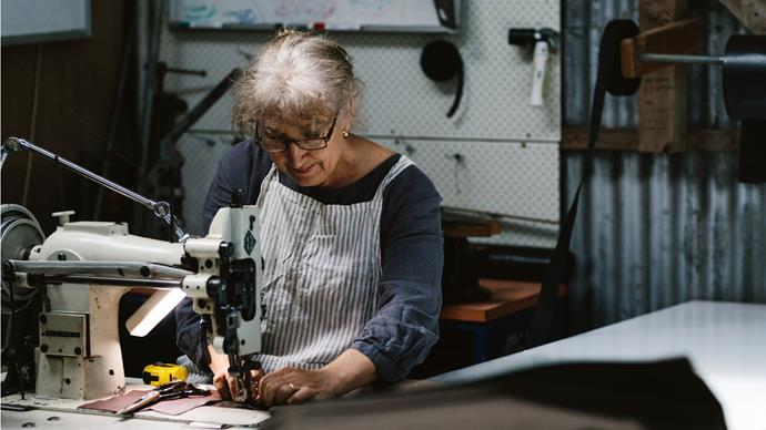 Gabrielle sewing the pieces that make up the pockets for Murchison's heavy-duty canvas bags.
