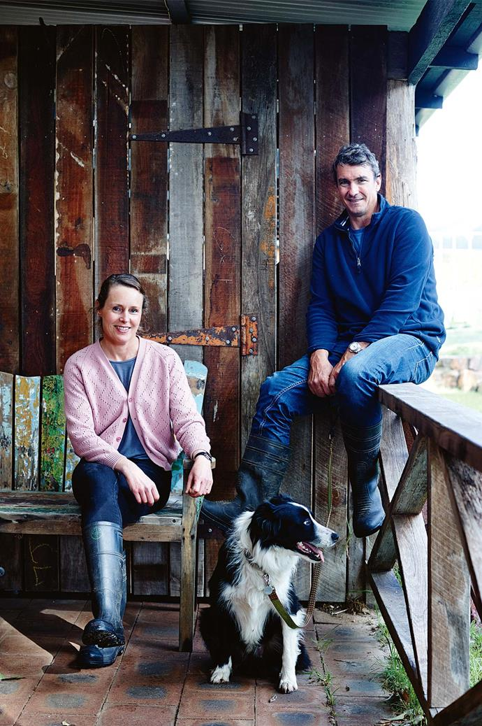 Jamie and Lara with their Border Collie, Hunter. The couple left corporate careers in Perth to establish their organic farm in Margaret River.