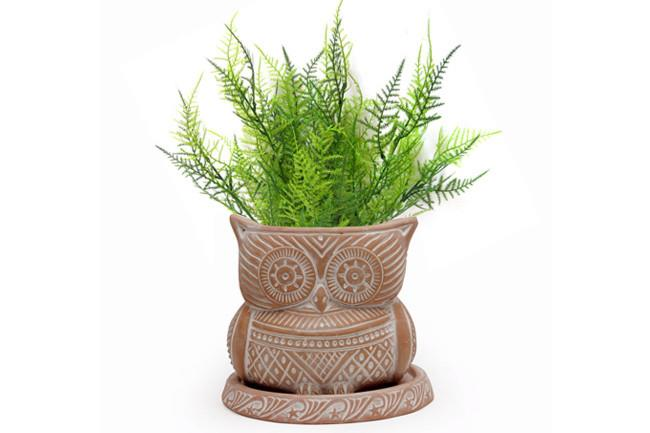"""'Owl' **planter** in white-washed terracotta with tray, $19.95, from [Oxfam](https://shop.oxfam.org.au/terracotta-planter-white-washed-with-tray-owl