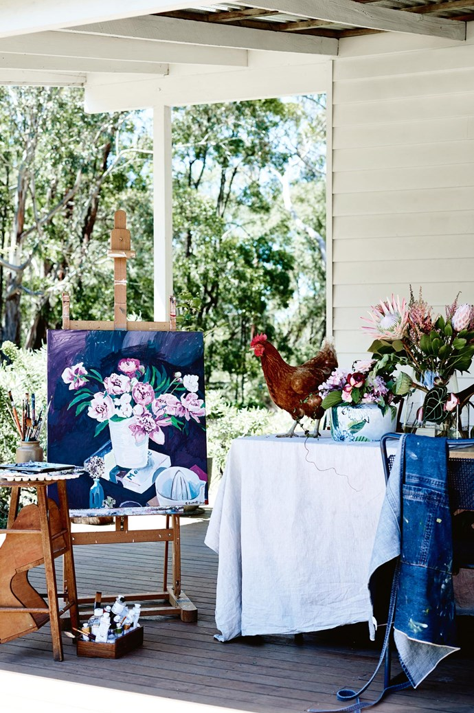 Elizabeth's still-life 'Springhill Peonies' rests next to Maudie the hen. The stool was sourced from Daylesford [Mill Markets](https://www.millmarkets.com.au/). | Photo: Mark Roper