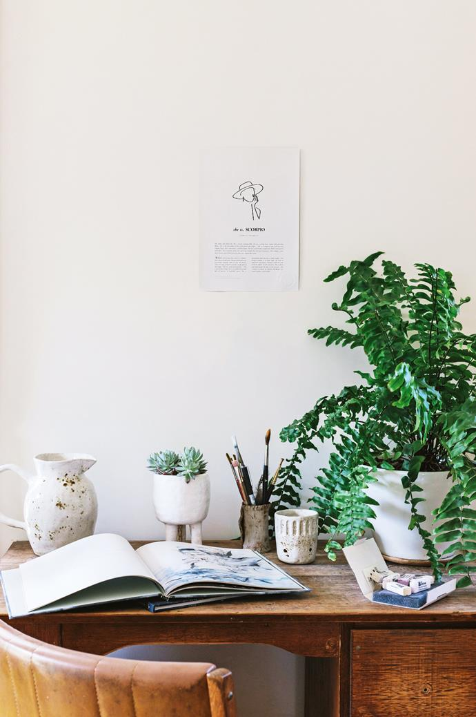 "On Brigitte's desk sits [handmade ceramics](https://www.homestolove.com.au/handmade-ceramic-platters-13992|target=""_blank"") (by the artist herself) and a copy of [The Viking Boy](https://unclebearskin.com/our-books/the-viking-boy