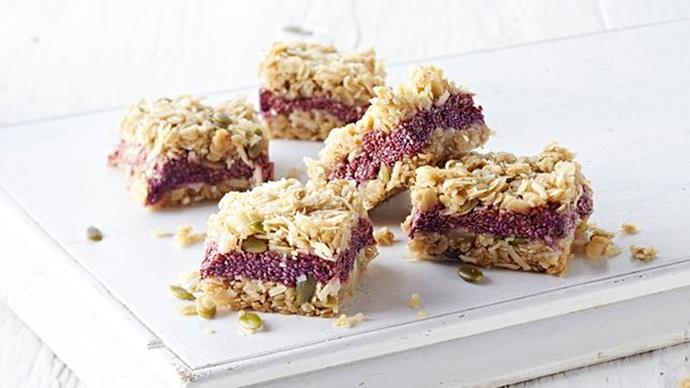 [**Macadamia, chia and raspberry muesli bars**](http://www.taste.com.au/recipes/macadamia-chia-raspberry-muesli-bar/5ae16788-e7ba-4395-b810-8de196f55c73). If your kids' school isn't nut-free, these are a great option. They're perfect for brekky-on-the-go, too.