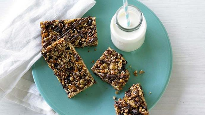 [**Sesame and dark chocolate muesli bars**](http://www.taste.com.au/recipes/sesame-dark-chocolate-gluten-free-muesli-bars/52a5f6d4-bef8-4747-b361-87e96d03e68c). Perfect for kids allergic to gluten, these sweet bars have a hit of fibre thanks to the sesame seeds.