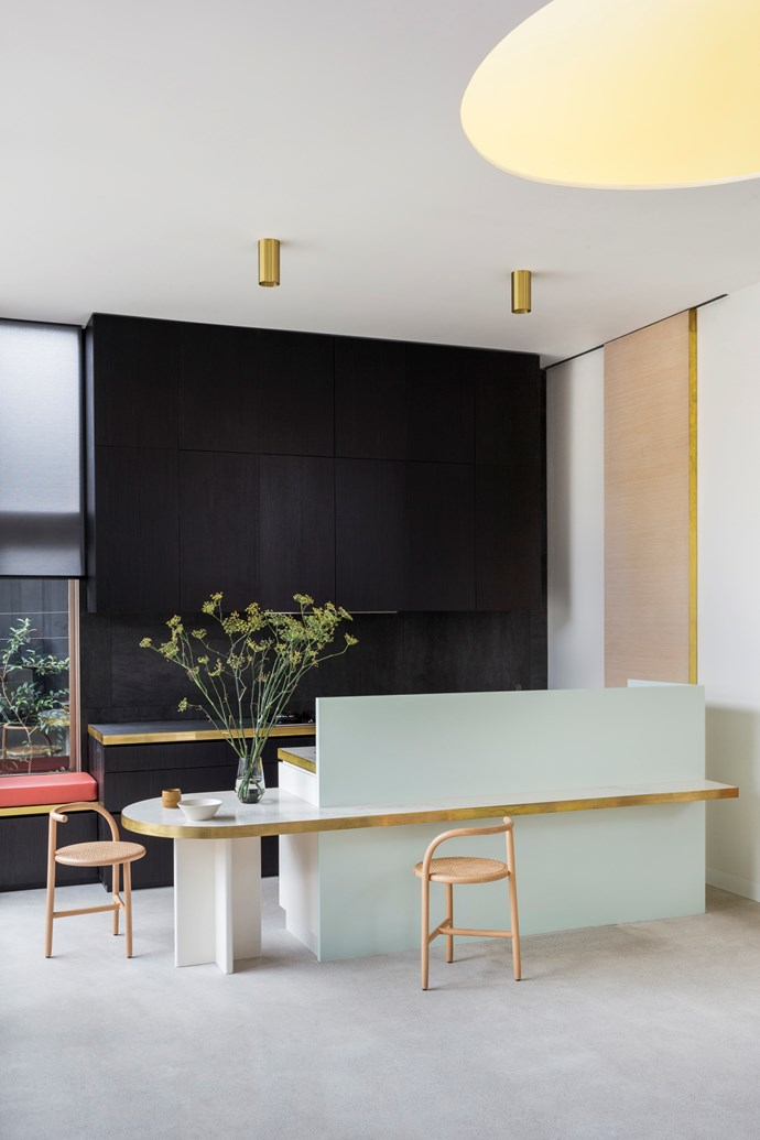 Balancing act: Keep sorbet shades grown-up and stylish by balancing them with raw textures (think gold and wood) and the use of a monochrome palette. Percy St Residence by Bagnoli Architects. Styling: Ruth Welsby. Photo © Ari Hatzis
