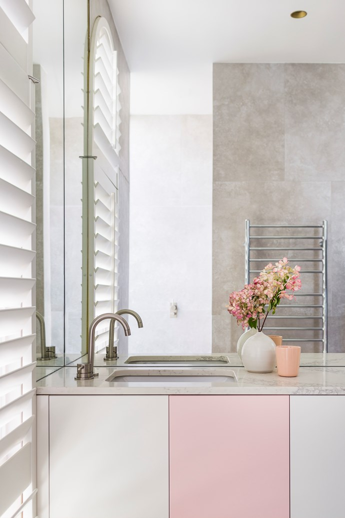 Pretty in pink: Ensure the use of pastel pink will always remain pretty by teaming it with white, grey and marble - all of which have timeless appeal. Percy St Residence by Bagnoli Architects. Styling: Ruth Welsby. Photo © Ari Hatzis