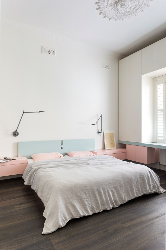 Don't make a fuss: Keep things simple with white walls that'll allow your subtle sorbet shades to draw the guest's eye.
