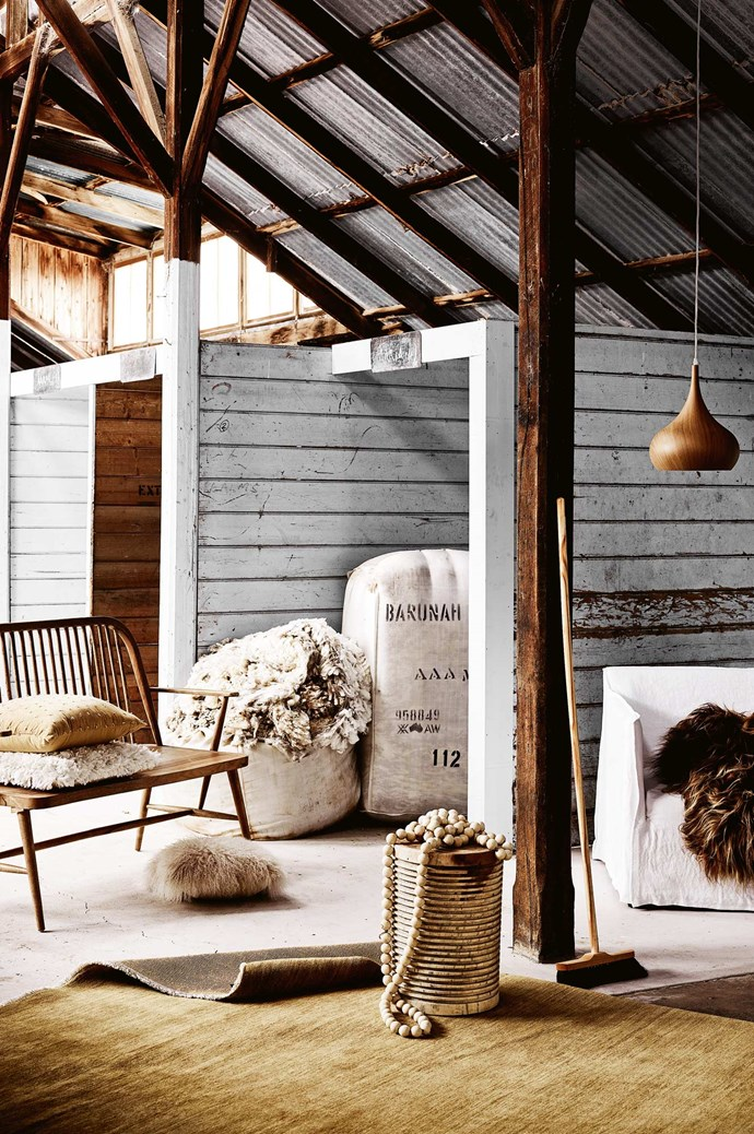 CLOCKWISE, FROM TOP RIGHT Home Design 'Mesen' pendant light, $149 from [Bunnings](https://www.bunnings.com.au/). 'Casper' armchair in Winter White, $1499.95, from [MRD Home](https://mrdhome.com.au/). Icelandic sheepskin rug in Copper Caramel Tips, $198, from [Hides Of Excellence](https://www.hidesofexcellence.com.au/animal-skin). Redecker horsehair broom, $90, from [Weylandts](https://www.weylandts.com.au/). 'Agra Knot' rug in Byzantine, from $4000, from [Armadillo & Co.](https://usa.armadillo-co.com/) 'Gigi' stool, $395, from [Weylandts](https://www.weylandts.com.au/). 'Monsoon' beads, $99, from [MRD Home](https://mrdhome.com.au/). Mongolian sheepskin cushion in Fawn, $97, from [Hides Of Excellence](https://www.hidesofexcellence.com.au/animal-skin). 'Saffron' bench, $999, from [Provincial Home Living](https://www.provincialhomeliving.com.au/). Deep pile woollen cushion, $109, from [House of Orange](https://www.houseoforange.com.au/). 'Sintra' cushion in Ochre, $73, from [L&M Home](https://www.lmhome.com.au/).   Photo: Mark Roper