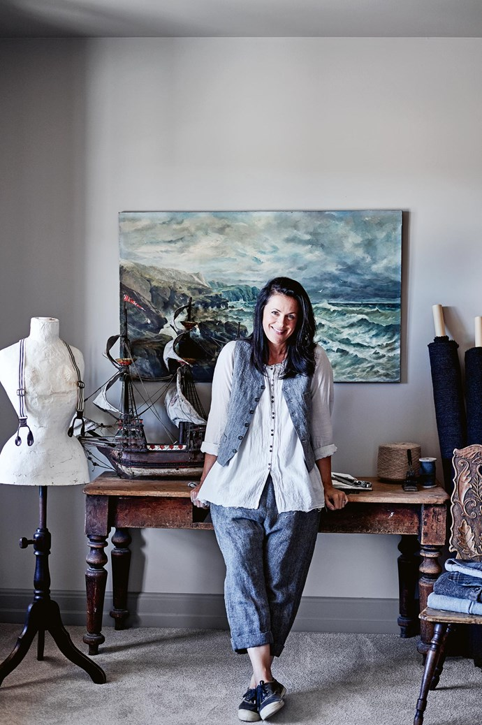 """Kate, who recently launched clothing and knitwear label [Garçonne](https://garconne.com.au/), lives here with husband David Staig and daughters, Abby Maya, 16, and Lotti, six. """"Marks and chips on old things tell their story, and I've tried to explain that to Lotti, who wants all new things..."""" Kate laughs. 