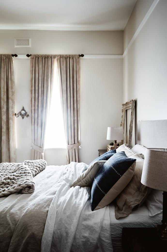 Tammy made the linen bedhead, curtains and throw in the master bedroom.