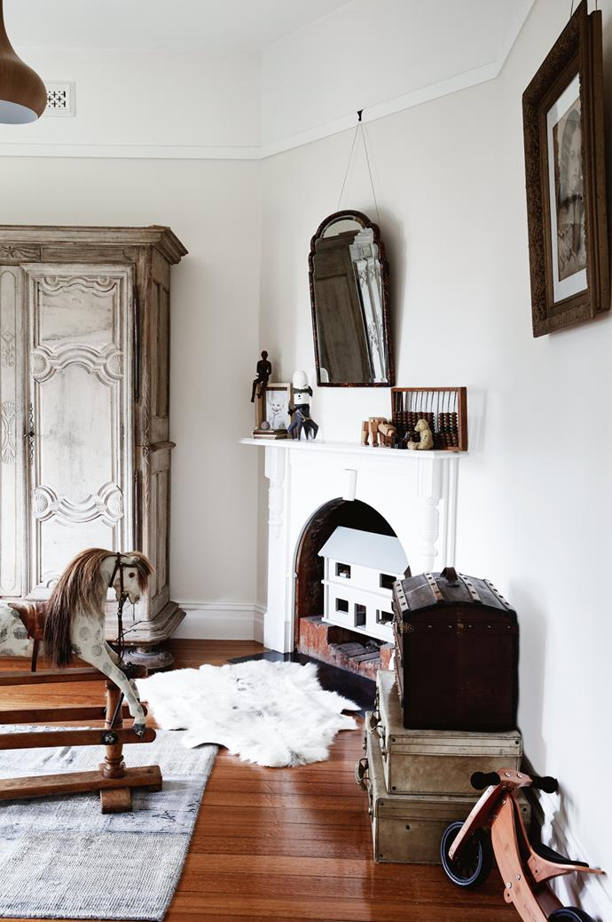 """Hugo's room is filled with rare treasures, such as the rocking horse made by Lines Brothers and a trunk that Todd couldn't resist buying while in the UK. """"It has a sticker on the side saying 'Utrecht', and that was where my grandfather was born,"""" he says."""