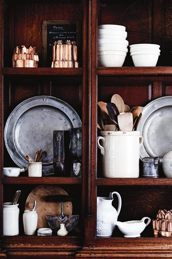 This oak dresser from Yorkshire displays treasured pieces such as French spoon moulds that Tammy and Todd found on their honeymoon in New Zealand. Furnished with their most beloved possessions, the couple's departure from their Lindisfarne home was bittersweet.