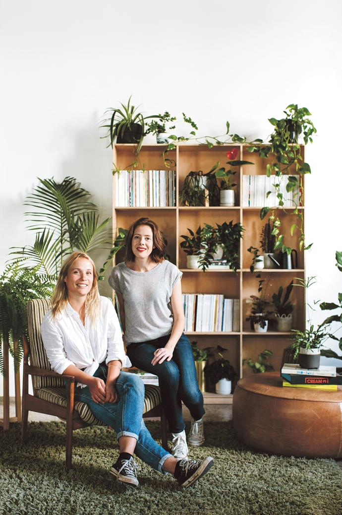 Find plants to hang or trail off your shelves. Varieties such as Hoya, Devil's ivy (Epipremnum aureum) or Chain of hearts (Ceropegia woodii) are perfect for this. Group a few hanging plants together for a floating garden or cascade a vine down the side of a bookcase. Some vines will happily be trained to grow up a wall, or around a mirror with the help of a few small hooks. Pictured: Lauren Camilleri & Sophia Kaplan of [Leaf Supply](https://www.leaf-supply.com/). | Photo: Luisa Brimble