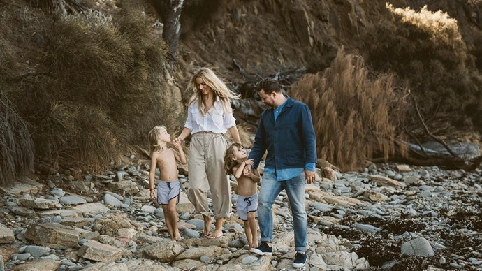 She and husband Tim recently celebrated their 10-year wedding anniversary with a weekend on Bruny Island, Tasmania. They explore with their children Bugsy and Bobby Arrow.  | Photo: Cassie Sullivan
