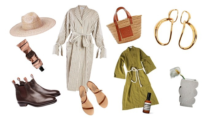 Prep for your next island holiday with Michelle's top 10 picks for relaxed holiday style. Clockwise from top left, 1. 'Palma Wide' hat, $99, from [Lack of Color](https://www.lackofcolor.com.au/), 2\. Loewe tie-waist striped coat, $1590, from [Matches Fashion](https://www.matchesfashion.com/au/). 3\. Loewe logo-debossed bag, $490, from [Matches Fashion](https://www.matchesfashion.com/au/).4\. Louise Olsen 'Chain' earrings, $380, from [Bassike](https://www.bassike.com/). 5\. 'Balboa' vase, $480, from [Den Holm](https://www.den-holm.com/). 6\. Caftan in Moss Green, $340, from [My General Store](https://www.mygeneral-store.com/). 7\. Aesop Blue Chamomile facial hydrating masque, $55, from [Adore Beauty](https://www.adorebeauty.com.au/). 8\. Ancient Greek Sandals 'Niove' sandals, $269, from [Shopbop](https://www.shopbop.com/). 9\. 'Kangaroo Adelaide' boots in Chestnut, $545, from [R.M. Williams](http://www.rmwilliams.com.au/). 10\. Resurrection Aromatique hand balm, $31, from [Aesop](https://www.aesop.com/au).