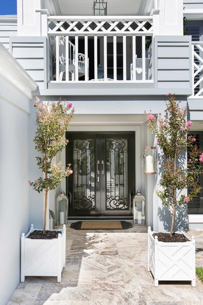 """The Hamptons palette is invigorated by layers of texture, from decorative cushions and rugs to exterior finishes,"" says Natalee. For the [exterior of a Hamptons home](https://www.homestolove.com.au/hamptons-style-home-exterior-australia-6395