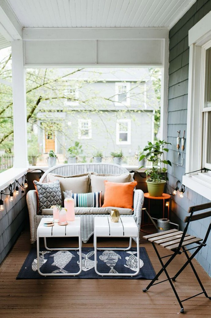Think laterally when it comes to the layout of your balcony. While many of us will position our sofas to face outwards, arranging your seating against the balcony will allow for more space. Image courtesy of [The Everygirl](http://theeverygirl.com/)