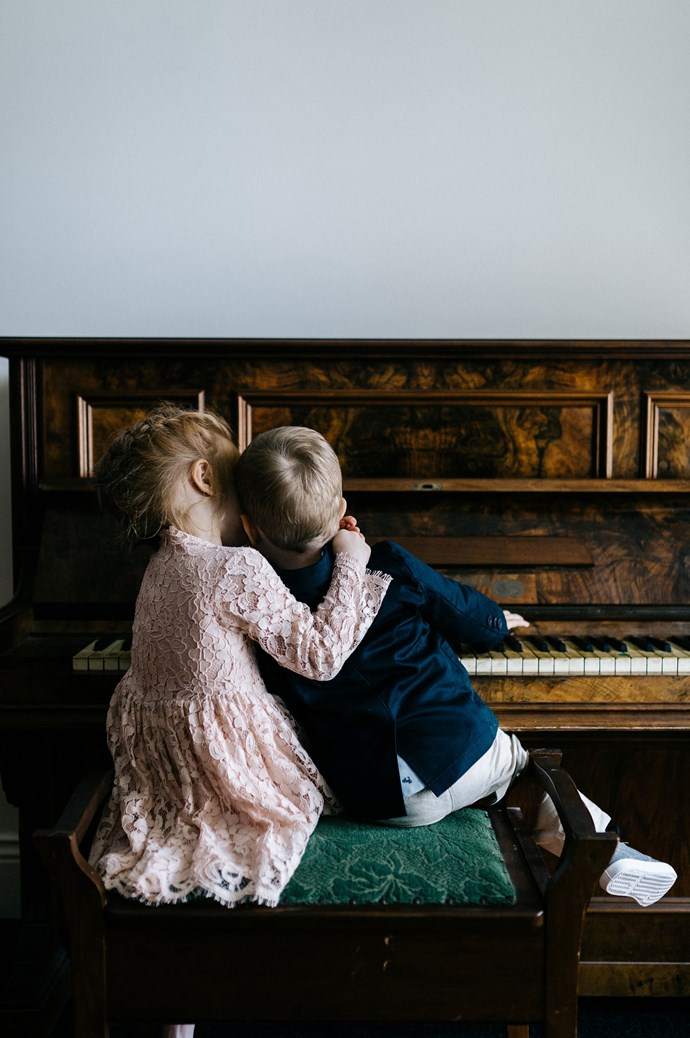 """Sitting at the piano are best buds, Isla and James. """"They are our niece and nephew, Isla was one of our flower girls with her sister Eva.""""   Photo: Marnie Hawson"""