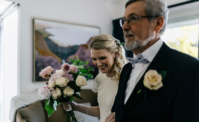 The father of the bride, David, with Elissa before the ceremony.   Photo: Marnie Hawson