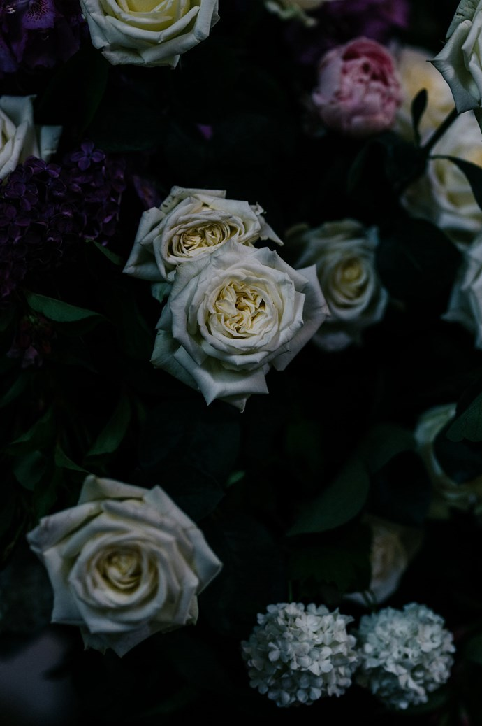 Roses and hydrangeas were part of the moody floral palette.    Photo: Marnie Hawson
