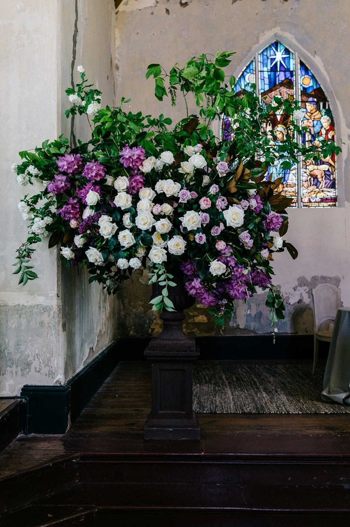 """Prunella's floral arrangements were lush and abundant, with Elissa putting her trust in the team completely. """"I honestly trusted the lovely Prunella team to put it together better than I ever could!""""   Photo: Marnie Hawson"""