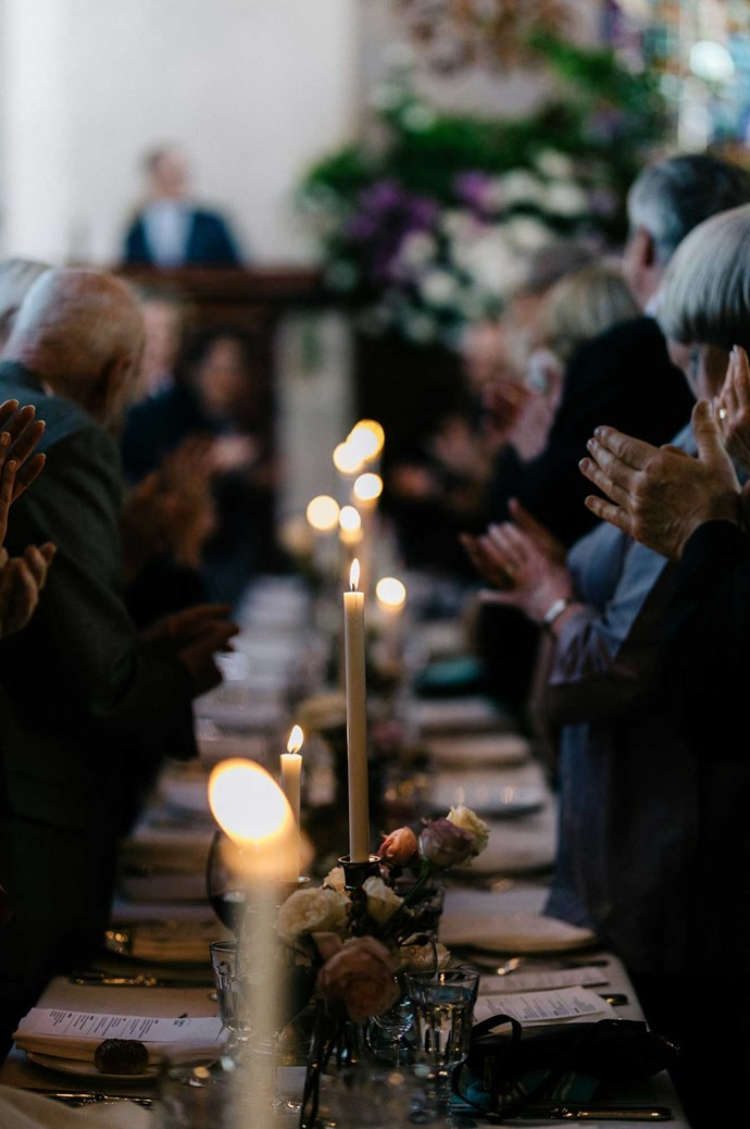 Candlelight  inside the church created an intimate and luxurious setting.    Photo: Marnie Hawson