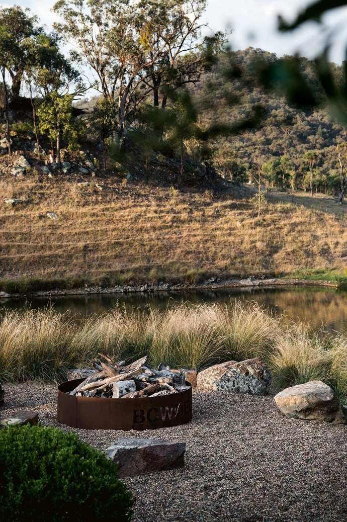 "'Bowfield' is laser-cut into the fire pit. ""We're lucky to have our rural life here and go off and do what we enjoy during the day,"" says Tamara."
