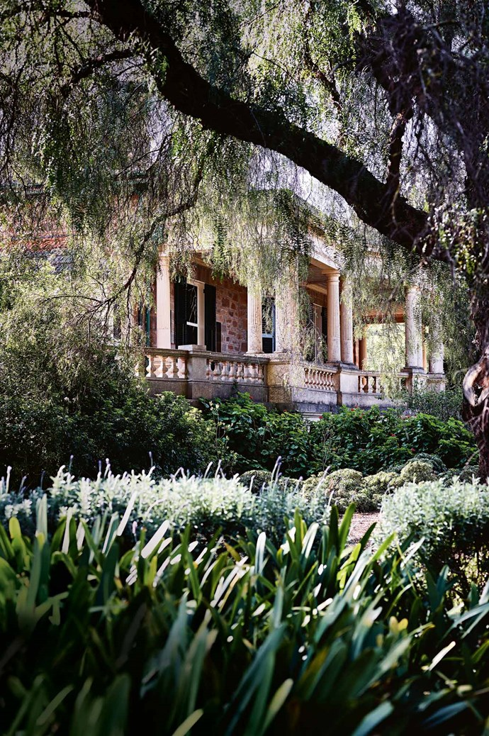 """The front of Anlaby Station, framed by a huge peppercorn tree, shows the property's [Italianate-style addition](https://www.homestolove.com.au/italianate-mansion-in-sydney-by-dylan-farrell-design-5343