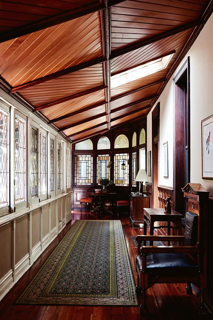 """Once an open verandah connecting the homestead's three pavilions, was enclosed with coloured [leadlight glass windows](https://www.homestolove.com.au/stained-glass-19272