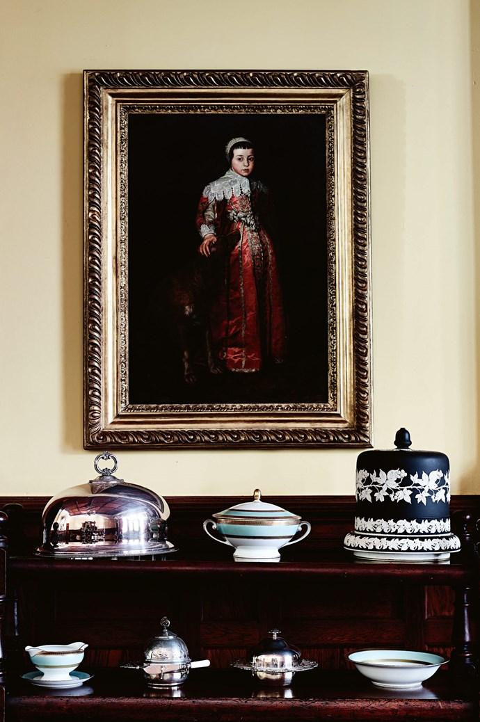 Antique dinnerware on display.