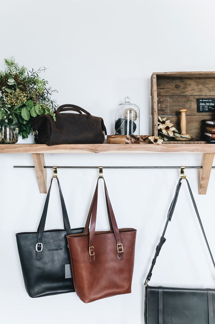 """""""My leather 'Market' tote holds all the essentials to get me through school drop-off to work and errands in town,"""" Jemima says.  