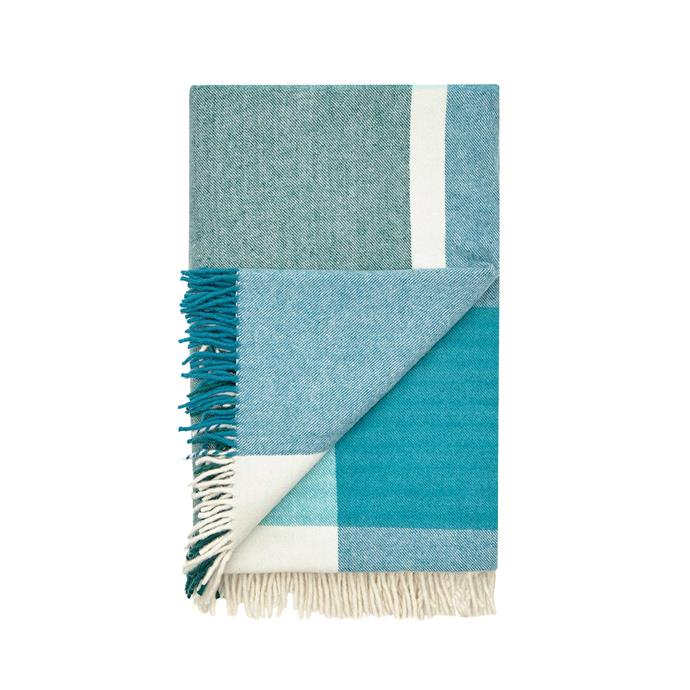 4\. 'Double Cross' merino wool throw, $299, from [Waverley Mills](https://www.waverleymills.com/).