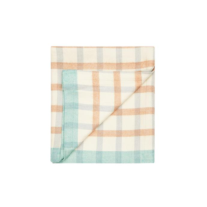 3\. 'Baby Grid' cotton-wool blanket in Orange and Blue, $189, from [Waverley Mills](https://www.waverleymills.com/).