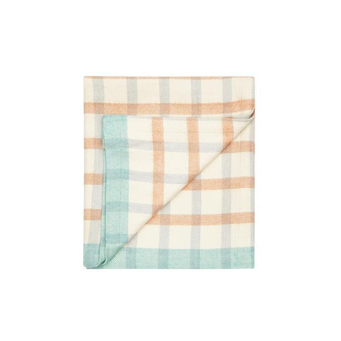 3\. 'Baby Grid' cotton-wool blanket in Orange and Blue, $189, from [Waverley Mills](https://www.waverleymills.com/).