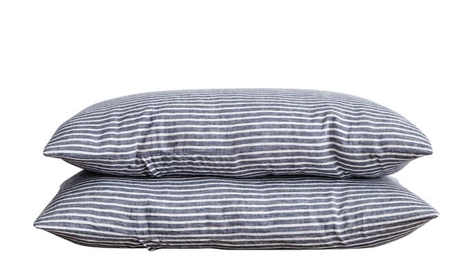 6\. Linen pillowcases in Indigo Stripe, $85 a pair, from [Cultiver](https://cultiver.com.au/).