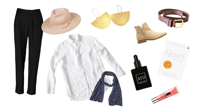 Clockwise, left to right: 1. 'Council' pants, $350, from [Viktoria and Woods](https://viktoriaandwoods.com.au/). 2\. 'The Zulu' hat in Sand, $89, from [Lack of Color](https://www.lackofcolor.com.au/). 3\. 'Noodle Bowl' earrings, $60, from [Frank and Enid](https://www.frankandenid.store/). 4\. 'The Classic' belt in Tan, $110, from [Saddler & Co.](https://saddlerandco.com.au/) 5\. 'Sandie' boots, $199, from [Country Road](https://www.countryroad.com.au/). 6\. Quiet: The Power of Introverts in a World that Can't Stop Talking book by Susan Cain, $22.99, from [Penguin Random House](https://www.penguinrandomhouse.com/). 7\. Clinique Superbalm Moisturizing Gloss in Apricot, $32, from [David Jones](https://www.davidjones.com/). 8\. Smoking Rose scented oil, $90, from [Ayu](https://www.theayu.com.au/). 9\. 'Classic' scarf in Charcoal, $170, from [Love Merino](https://www.lovemerino.com.au/). 10\. Shirt in White, $139, from [Seaside Tones Australia](https://www.seasidetones.com.au/).