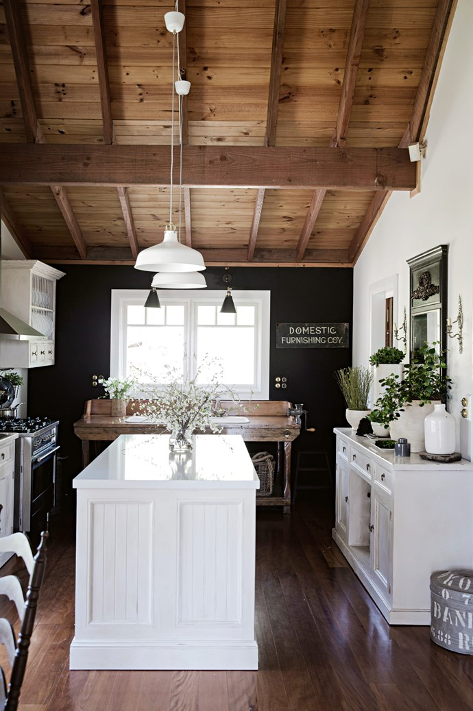 [Heidi O'Rourke](http://www.homelife.com.au/country-style/homes-and-gardens/fringe-benefits-a-rustic-intimate-home-on-sydneys-outskirts?ref=/search)'s Glenorie kitchen features a vintage workbench fitted with a sink, resting beside a chalkboard wall under a pitched roofline. As a restless forager, the Sydney-based stylist populates her home with stray greenery from bushwalks and country drives. *Photo: Chris Warnes*
