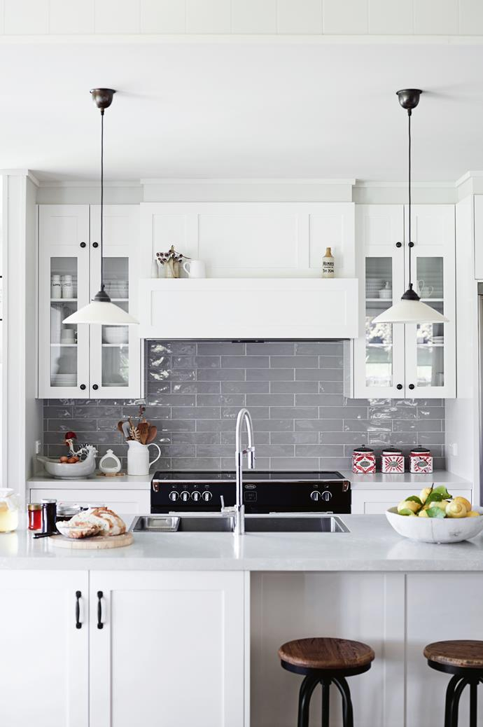 "This stunning white kitchen is owned by couple Kerry Watson and David Mumby, whose bed-and-breakfast, [Haven Red Hill](https://www.homestolove.com.au/new-build-country-home-13977|target=""_blank""), is situated on four hectares of herb gardens, rose arbours and grazing pastures in Victoria's Mornington Peninsula. The couple regularly cook here with fresh produce sourced from their land."