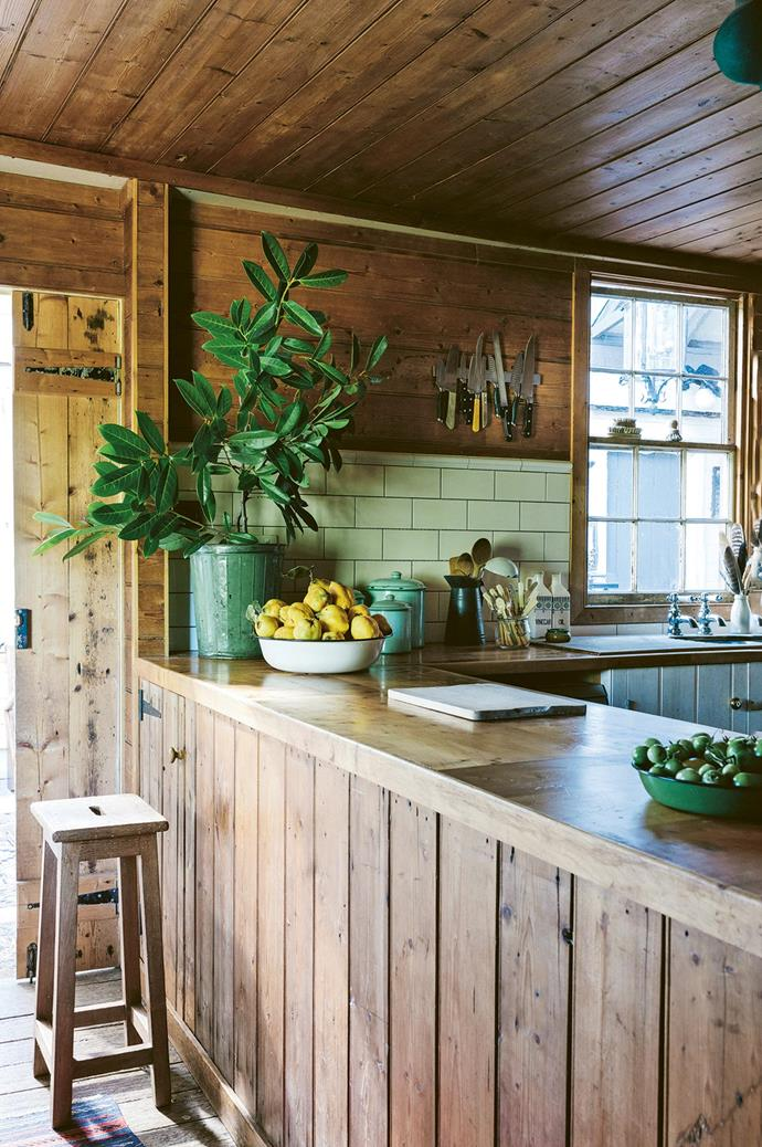 "The kitchen at [Ewing Farm](https://www.homestolove.com.au/old-farmhouse-restoration-13852|target=""_blank"") used to be a walk-up dairy but today, it is clad in fine timber and connected to a kitchen garden which homeowners Natalie and Nils lovingly tend to. ""We feel like it's not really our house because it's so original — we're just looking after it,"" Natalie says."