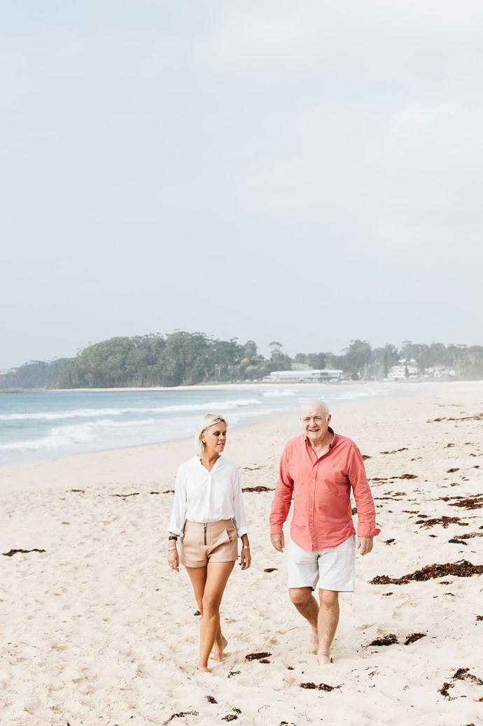 Sarah with Rick at Jones Beach in Mollymook. One of Sarah's favourite accessories is her two Cartier 'Love' bracelets which Rick gifted her, one to represent each of her children, Zach and Olivia.  | Photo: Abbie Melle