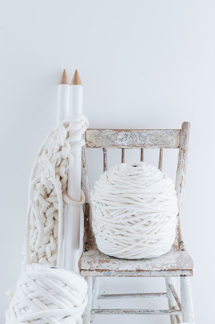 "Tools of the knitting trade — the yarn is available from [Little Dandelion](https://www.littledandelion.com/). ""When in making mode, I need to be as comfortable as possible because my work tends to be very physical."" 