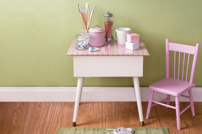 Create an arts and [crafts](http://www.homelife.com.au/how+to/craft/kids+craft+and+creative+ideas+,435) table in a corner of the [kitchen](http://www.homelife.com.au/decorating/kitchen) or study so children can play while you work, or set them up in their bedroom so they can work on creative projects. Cover a table top with a pretty, easy-to-clean oilcloth and use a staple gun to hold in place. We used striped oilcloth from [Red Plum Linen](http://www.redplumlinen.com.au/).   Photo: Scott Hawkins