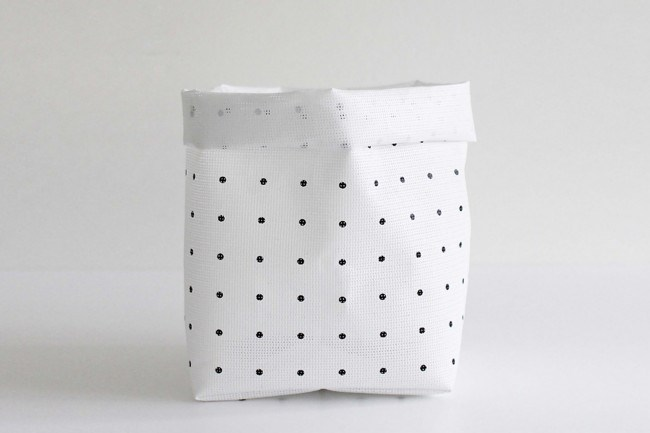 Varpunen sack, $20, from [Design Stuff](http://www.designstuff.com.au/varpunen-confetti-storage-pink/). Go dotty for these sacks designed and hand sewn in Finland, they are made from a printed and laminated PVC making them soft and flexible yet tough and durable.