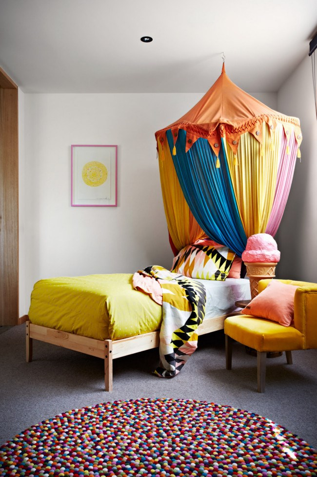**Bedroom bliss** In this whimsical children's bedroom, the bright colours of the furnishings are grounded by the neutral ceiling, [walls](http://www.homelife.com.au/decorating/living+dining/how+to+choose+the+right+white+for+your+walls,5529) and floor. Ensure you distribute colour around the bedroom so it's not limited or focused in one area.     To see more of this house check out [Modern coastal home   ](http://www.homelife.com.au/homes/galleries/modern+coastal+home+,21953)  **Like this? Try our other DIY ideas:**  \* [Decorating with colour and texture](http://www.homelife.com.au/decorating/galleries/decorating+with+colour+and+texture,13961)   \* [Neon decorating](http://www.homelife.com.au/decorating/galleries/neon+decorating,17569)   \* [Decorating with primary colours](http://www.homelife.com.au/decorating/galleries/decorating+with+primary+colours+,15585)  Plus, don't miss more great ideas on [Facebook](http://www.facebook.com/homelife.com.au) and you can also find us on [Pinterest](http://pinterest.com/homelifecomau/). | Photo: Armelle Habib
