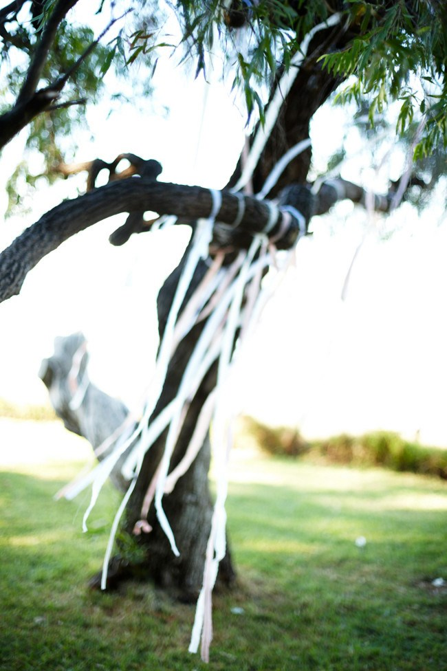 **Ribbons in the trees** Tie strips of fabric or [ribbons](http://www.homelife.com.au/how+to/how+to+make+a+mirror+curtain,4704) from tree branches to create a whimsical backdrop to proceedings.  _Photo courtesy of [Rob Johnson Photography](http://robjohnsonphotography.com/)_