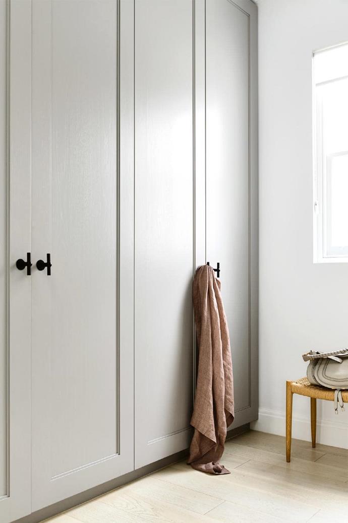 **Walk-in robe** Solid oak wardrobes keep clutter tucked away Photographer: Derek Swalwell, Stylist: Rachel Vigor