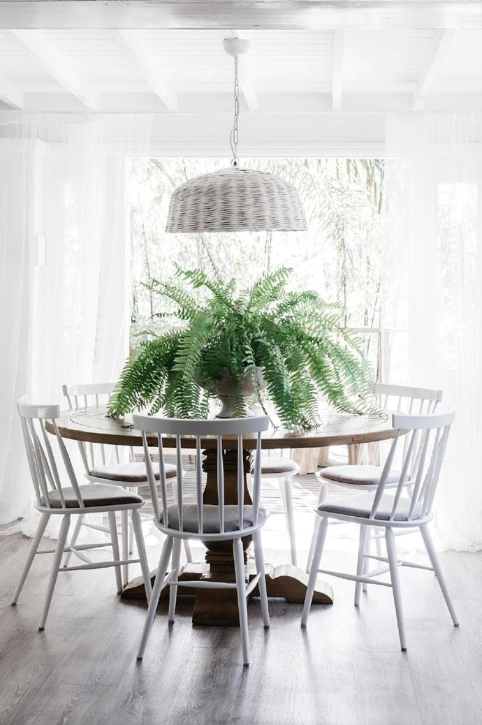 Stools from [Sounds Like Home](https://www.soundslikehome.com.au/) and 'Stol' chairs from [Thonet](http://www.thonet.com.au/) provide classic seating options while an oversized rattan pendant light from [Bisque Interiors](https://bisqueinteriors.com.au/) brings coastal appeal