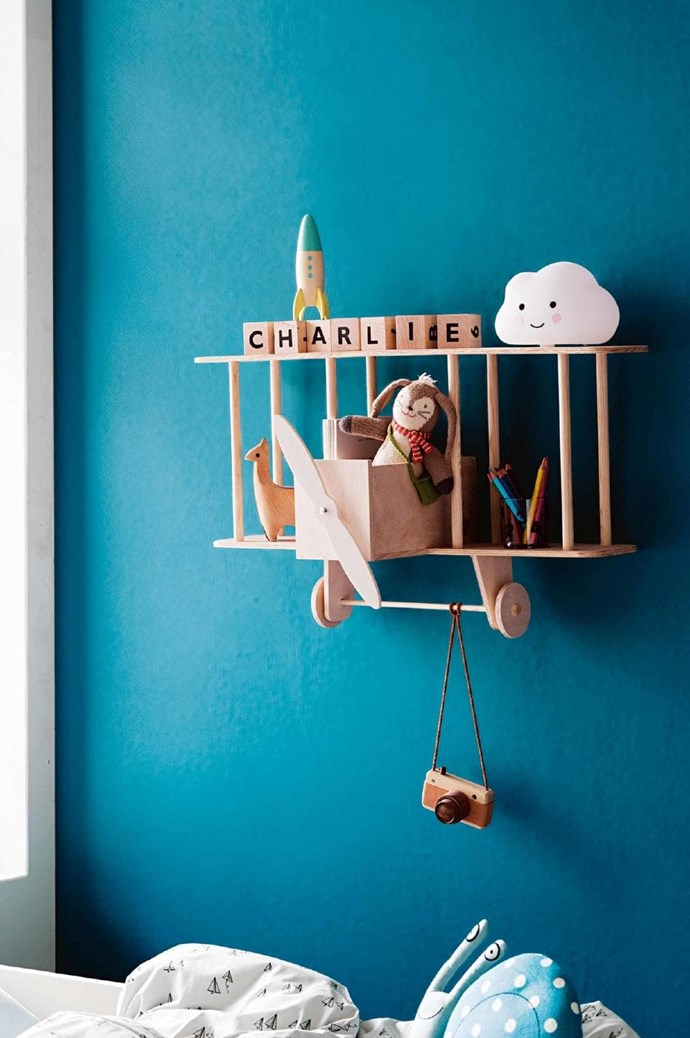 Novelty pieces can be more than kitsch. This striking plane is crafted for your kid's favourite knick-knacks. Up! Warsaw 'Bi-Plane' shelf, $230, [Two More Charlies](https://www.twomorecharlies.com.au/) Photographer: Sam McAdam-Cooper, Stylist: Jessica Hanson