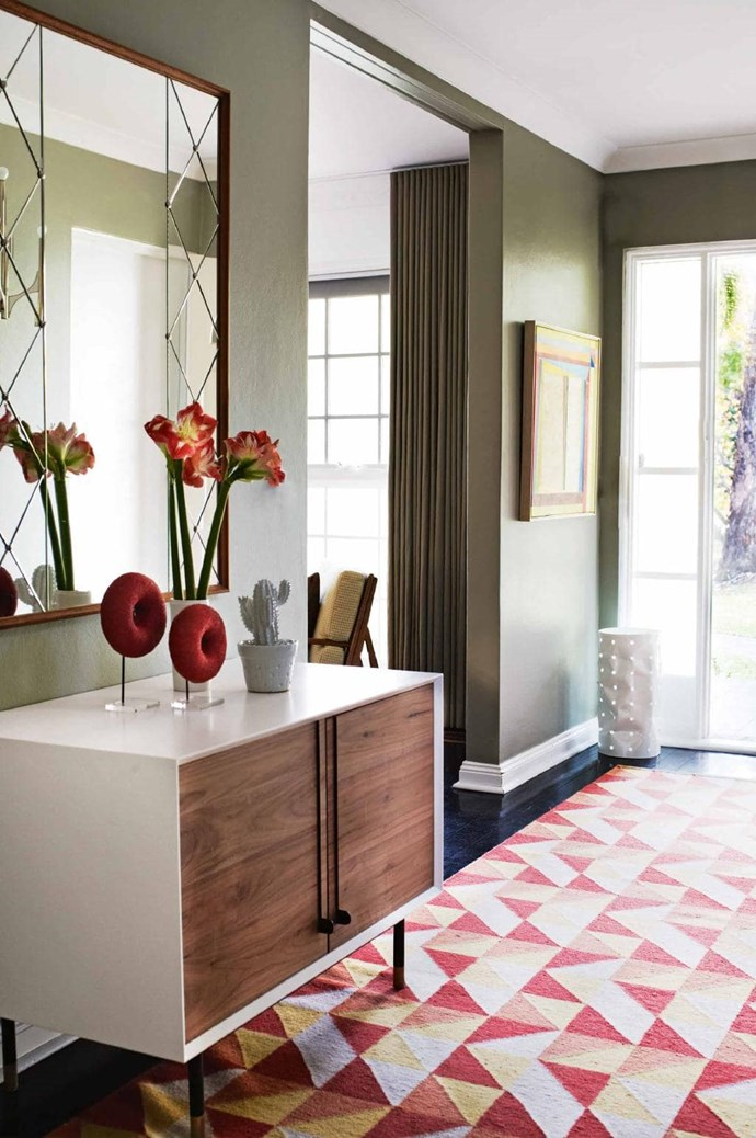 Give your entrance impact by combining bold colours with busy geometrical designs for a personality-laden home. *Photographer: Prue Ruscoe | Stylist: Phoebe McEvoy.*