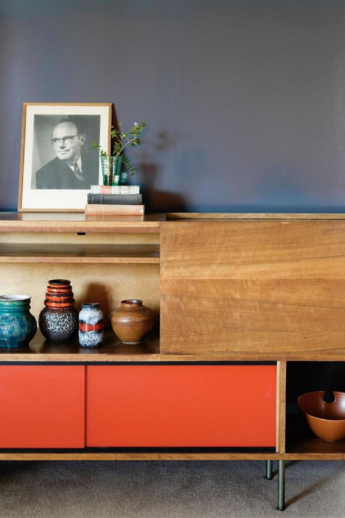 Shelving throughout the house displays interesting objects and collectables – ceramics and glassware.