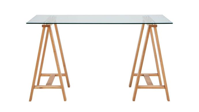 """Ideal for a large home office, timber trestles support an expansive glass surface. 'Archibald' desk, $549, [Freedom](https://www.freedom.com.au/